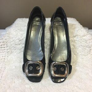 Stuart Weitzman patent buckle peep toe size 10 1/2